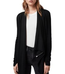 women's allsaints drina ribbed cardigan, size small - black