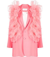 loulou ruffled tulle single-breasted blazer - pink