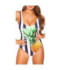 trendy zwempak-badpak met ananas-print gewatteerd marineblauw