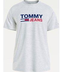 tommy hilfiger dm0dm10214 pj4 silver grey corp logo t-shirt jeans