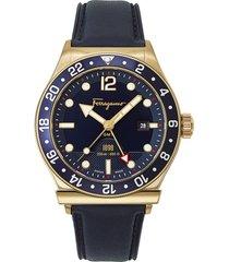 men's salvatore ferragamo sport leather strap watch, 44mm