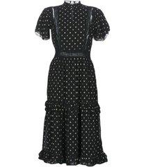 lange jurk maison scotch party dress with ruffles and lace panels