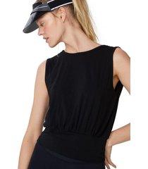 amaro feminino blusa regata com decote v costas, preto