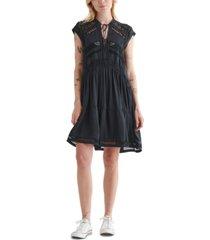 lucky brand crochet lace inset dress