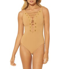 women's bleu by rod beattie hole in one mio plunge one-piece swimsuit, size 12 - beige