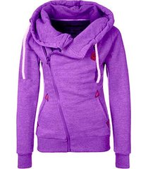 purple women's sports personality side zipper hooded cardigan sweater jacket