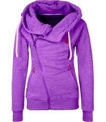 purple women's sports personality side zipper hooded cardigan sweater jacket