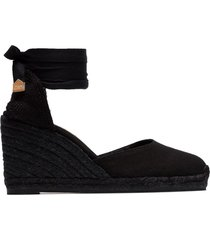 castañer black carina 80 ankle tie wedge sandals