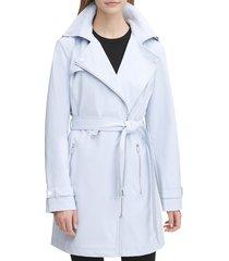 dkny women's notch-lapel trench coat - sugar blue - size m