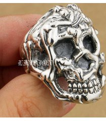 linsion erotic nude 925 sterling silver sexy naked grils huge heavy skull ring