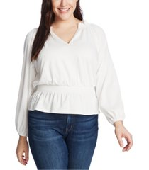 1.state plus size smocked top