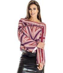blusa cropped estampa lenço ana hickmann feminina
