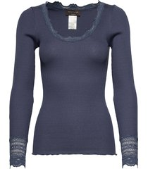 silk t-shirt regular ls w/wide lace t-shirts & tops long-sleeved blauw rosemunde