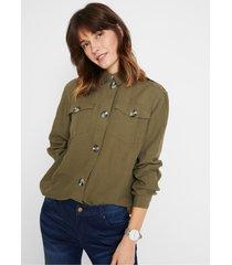 duurzame cargo blouse, tencel™ lyocell-linnen