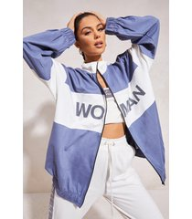 woman jasje met ballonmouwen en rits, stoffig blauw