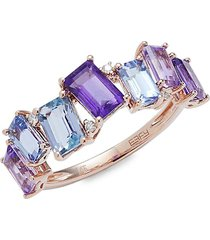 effy women's 14k rose gold & multi-stone ring - size 7