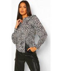 luipaardprint blouse met kraag en knopen, black