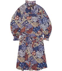 enora floral long sleeve midi dress in navy
