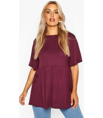 plus jersey frill hem smock top, berry