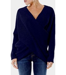 navy cross front v-neck irregular hem jumper