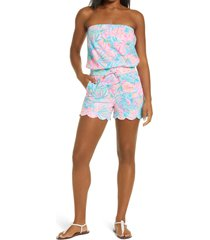 women's lilly pulitzer jace print strapless romper, size xx-small - blue