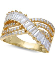 cubic zirconia triple row baguette & pave crossover ring (3 ct. t.w.) in sterling silver or 18k gold over sterling silver
