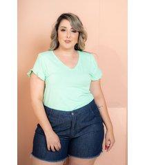 t-shirt babado verde claro plus size maria rosa