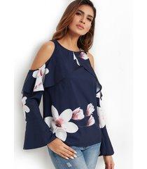 blusa con volantes y mangas acampanadas con hombros descubiertos y estampado floral al azar