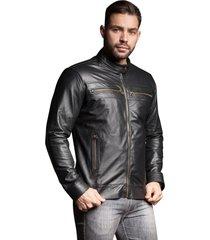 jaqueta parra couros masculina prata preto