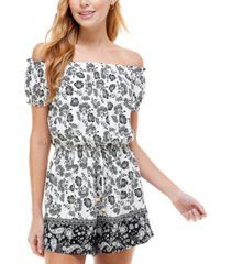 kingston grey juniors' on-and-off-the-shoulder peasant romper