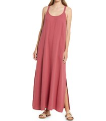 women's caslon textured cotton sleeveless maxi dress, size x-small - red