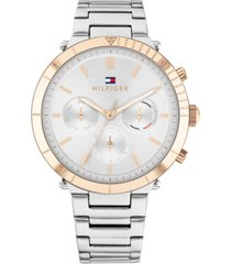 tommy hilfiger women's chronograph stainless steel bracelet watch 38mm, created for macy's