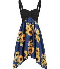 backless asymmetric sunflower summer dress