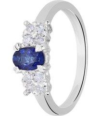 anello in oro bianco, zaffiro 0,08 ct e diamanti 0,25 ct per donna