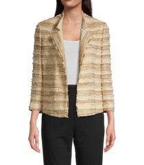kobi halperin women's estrella stripe tweed jacket - stone - size l