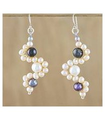 cultured pearl dangle earrings, 'dancing pearls' (thailand)