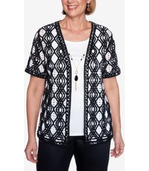 alfred dunner plus size short sleeve diamond lace two-for-one knit top with detachable necklace