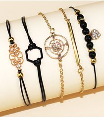 5 piece heart star geometric rope chain bracelets set