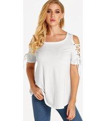 blanco con cordones diseño redondo cuello camisetas de manga corta