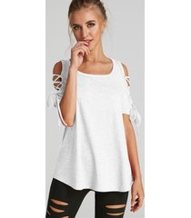 white lace-up design round neck short sleeves t-shirts
