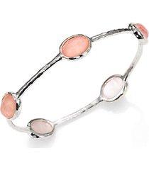 wonderland blush mother-of-pearl, clear quartz & sterling silver station five-stone doublet bangle bracelet