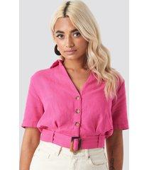 trendyol belt detailed linen shirt - pink