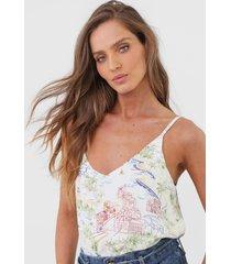 regata lunender tropical off-white - off white - feminino - viscose - dafiti