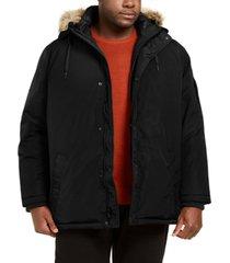 calvin klein men's big & tall alternative down parka jacket with faux fur hood