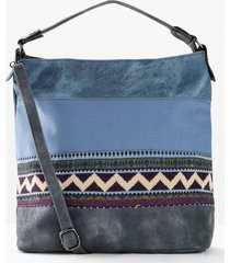 borsa shopper in denim stile etnico (blu) - bpc bonprix collection