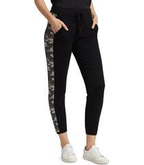 monrow women's camo stripe sweatpants - heather grey - size l