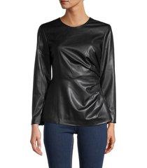 donna karan new york women's faux leather top - black - size xs