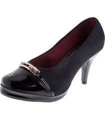 zapato tacón charol*lycra negro tellenzi 9524