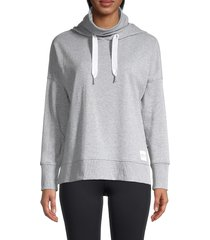 calvin klein performance women's funnel-neck & face mask hoodie - pearl heather grey - size m