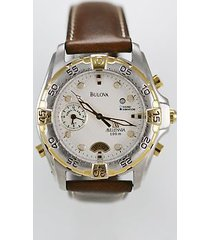 bulova millenia mens watch white 100m stainless gold silver leather brown quartz